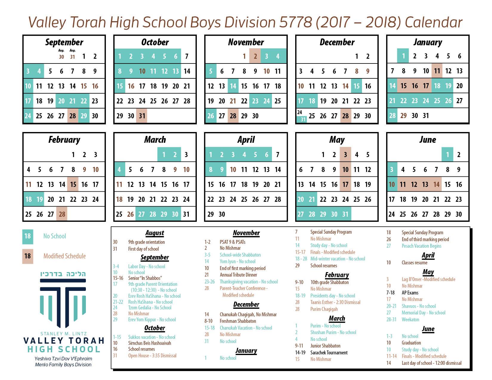 Torah Calendar.Boys Calendar 2017 2018 Vths Blog